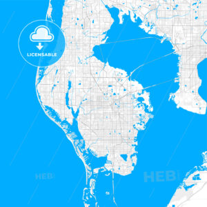 Rich detailed vector map of Pinellas Park, Florida, United States of America - HEBSTREITS Sketches