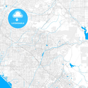 Rich detailed vector map of Placentia, California, United States of America - HEBSTREITS Sketches