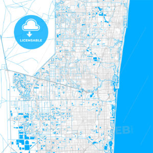 Rich detailed vector map of Plantation, Florida, USA - HEBSTREITS Sketches