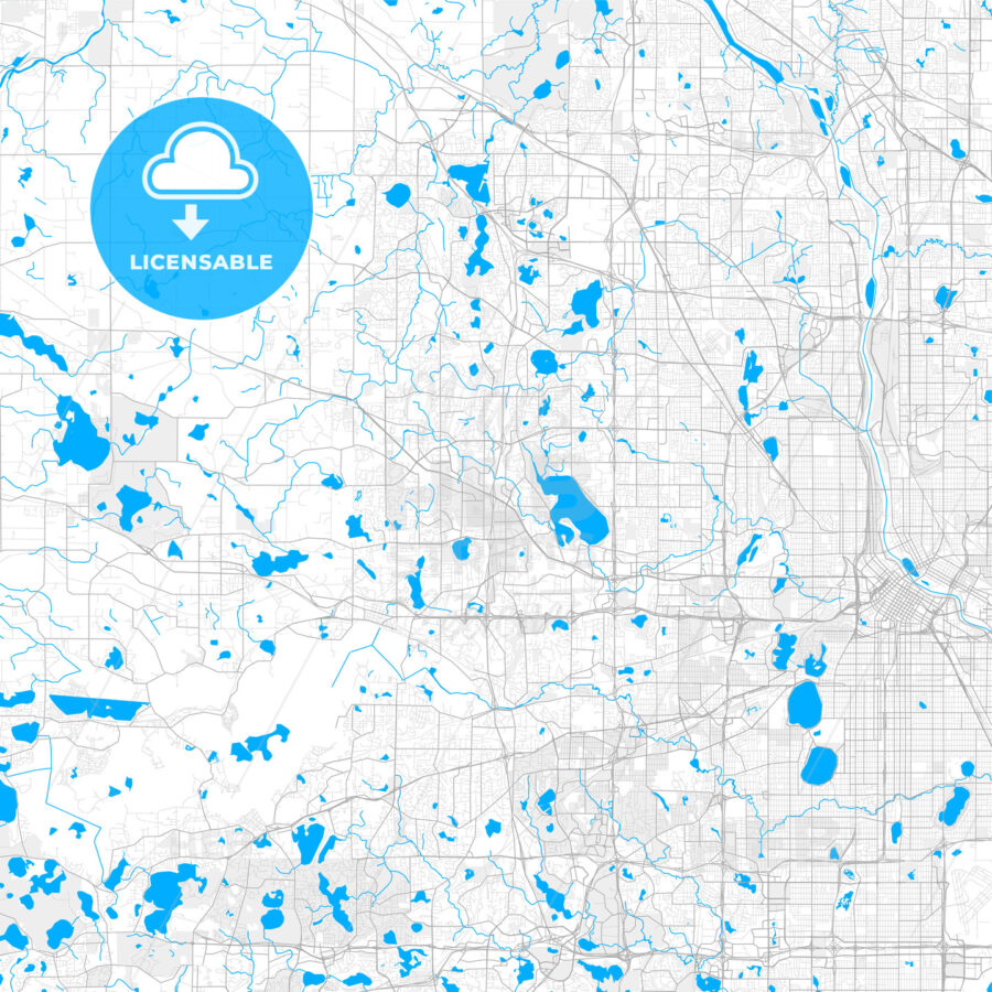Rich detailed vector map of Plymouth, Minnesota, USA - HEBSTREITS Sketches