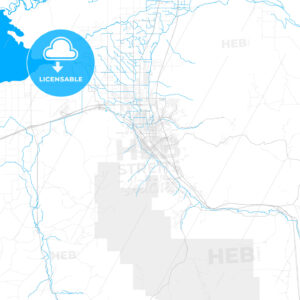 Rich detailed vector map of Pocatello, Idaho, USA - HEBSTREITS Sketches