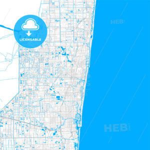 Rich detailed vector map of Pompano Beach, Florida, USA - HEBSTREITS Sketches