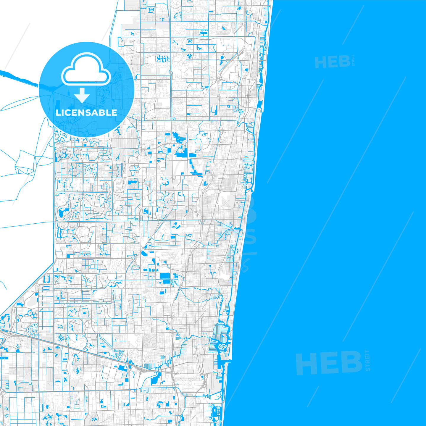 Map Of Pompano Beach Florida Rich detailed vector map of Pompano Beach, Florida, USA