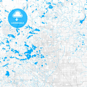 Rich detailed vector map of Pontiac, Michigan, USA - HEBSTREITS Sketches