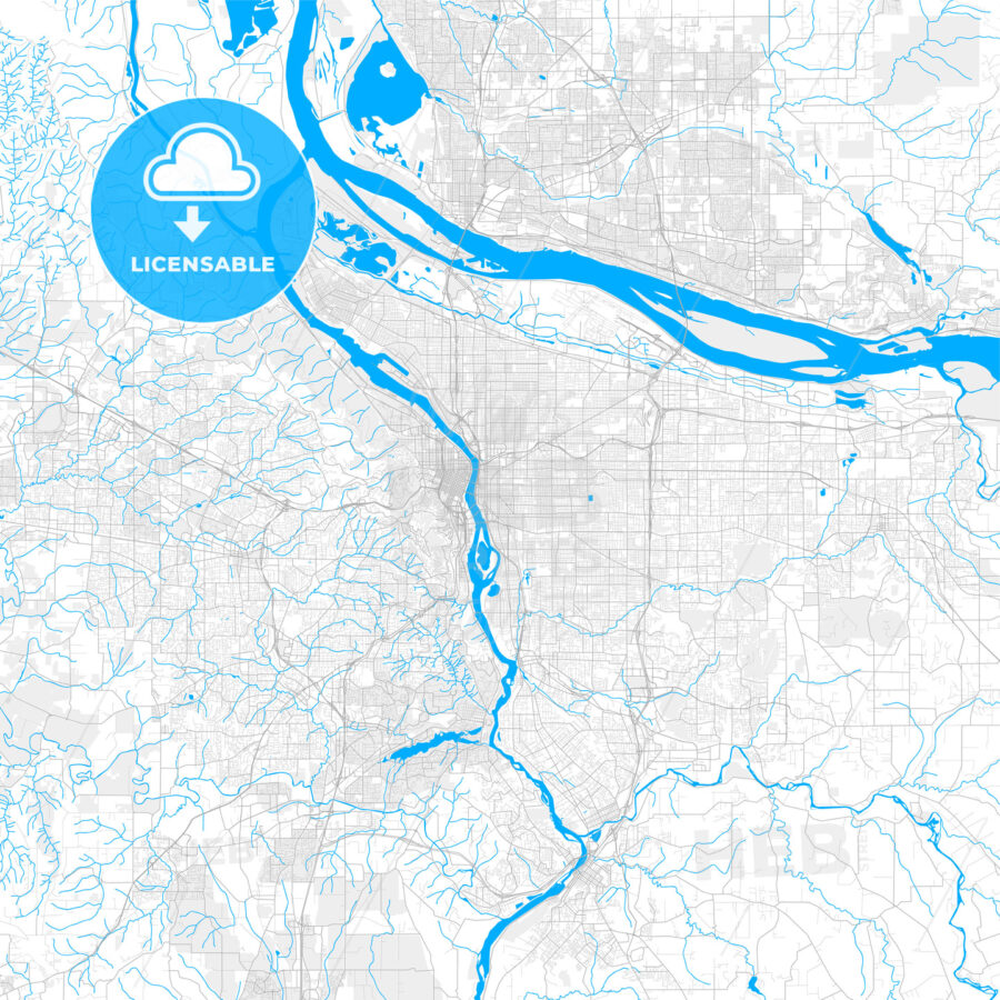 Rich detailed vector map of Portland, Oregon, U.S.A. - HEBSTREITS Sketches
