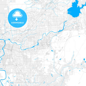 Rich detailed vector map of Rancho Cordova, California, USA - HEBSTREITS Sketches