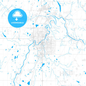 Rich detailed vector map of Red Deer, Alberta, Canada - HEBSTREITS Sketches
