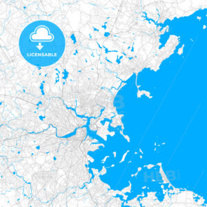 Rich detailed vector map of Revere, Massachusetts, United States of America - HEBSTREITS Sketches