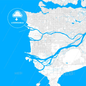 Rich detailed vector map of Richmond, British Columbia, Canada - HEBSTREITS Sketches