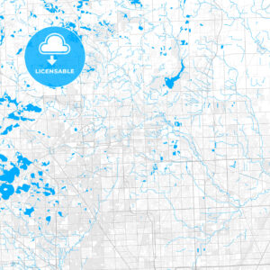 Rich detailed vector map of Rochester Hills, Michigan, USA - HEBSTREITS Sketches