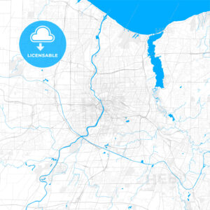 Rich detailed vector map of Rochester, New York, USA - HEBSTREITS Sketches