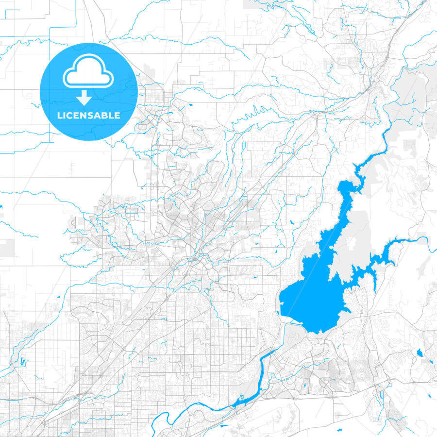 Rich detailed vector map of Rocklin, California, USA - HEBSTREITS Sketches