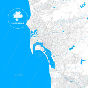 Rich detailed vector map of San Diego, California, U.S.A. - HEBSTREITS Sketches