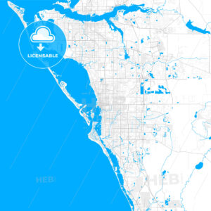 Rich detailed vector map of Sarasota, Florida, USA - HEBSTREITS Sketches