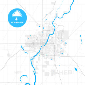 Rich detailed vector map of Saskatoon, Saskatchewan, Canada - HEBSTREITS Sketches
