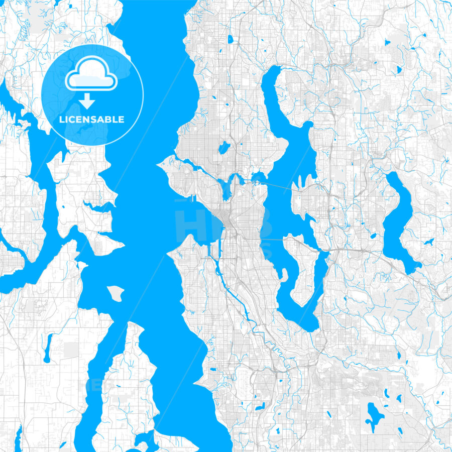 Rich detailed vector map of Seattle, Washington, U.S.A. - HEBSTREITS Sketches