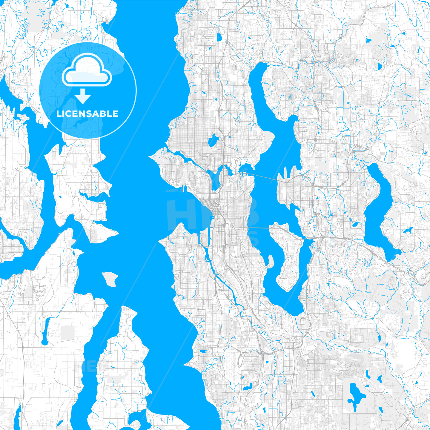 Rich detailed vector map of Seattle, Washington, U.S.A.