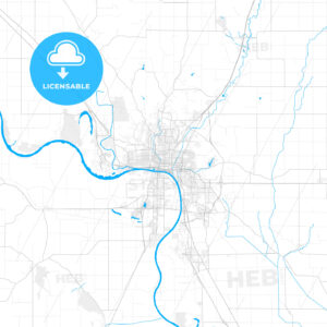 Rich detailed vector map of Sioux City, Iowa, USA - HEBSTREITS Sketches