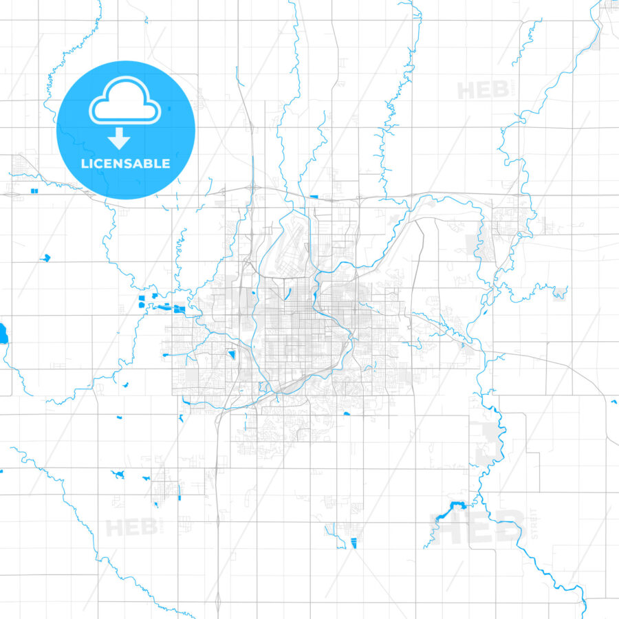 Rich detailed vector map of Sioux Falls, South Dakota, USA - HEBSTREITS Sketches