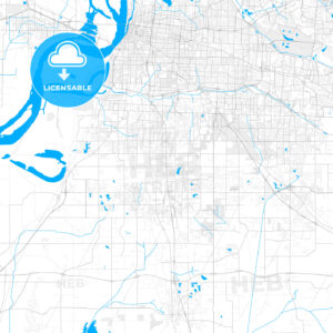 Rich detailed vector map of Southaven, Mississippi, United States of America - HEBSTREITS Sketches