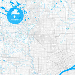 Rich detailed vector map of Southfield, Michigan, USA - HEBSTREITS Sketches