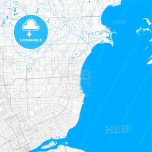 Rich detailed vector map of St. Clair Shores, Michigan, USA - HEBSTREITS Sketches