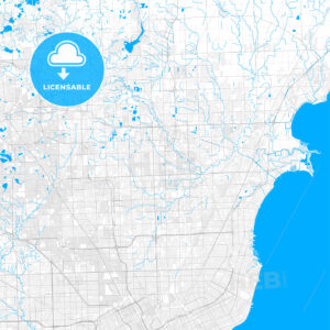 Rich detailed vector map of Sterling Heights, Michigan, USA - HEBSTREITS Sketches