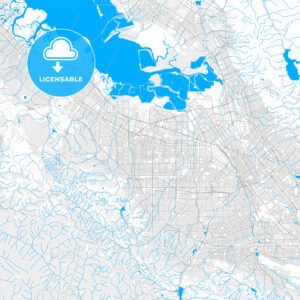 Rich detailed vector map of Sunnyvale, California, USA - HEBSTREITS Sketches
