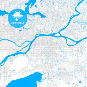 Rich detailed vector map of Surrey, British Columbia, Canada - HEBSTREITS Sketches