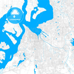 Rich detailed vector map of Tacoma, Washington, USA - HEBSTREITS Sketches