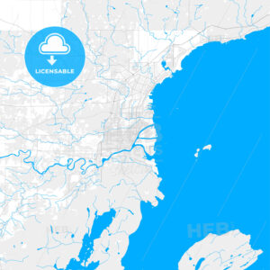 Rich detailed vector map of Thunder Bay, Ontario, Canada - HEBSTREITS Sketches