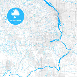 Rich detailed vector map of Tigard, Oregon, United States of America - HEBSTREITS Sketches