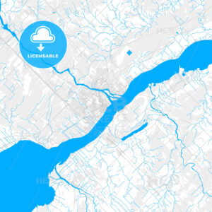 Rich detailed vector map of Trois-Rivières, Quebec, Canada - HEBSTREITS Sketches