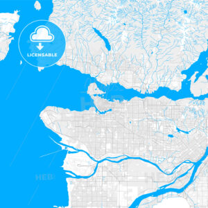 Rich detailed vector map of Vancouver, British Columbia, Canada - HEBSTREITS Sketches