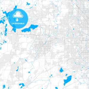 Rich detailed vector map of Waukesha, Wisconsin, USA - HEBSTREITS Sketches