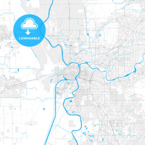 Rich detailed vector map of West Sacramento, California, United States of America - HEBSTREITS Sketches