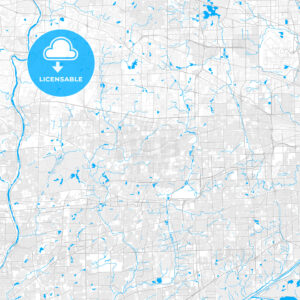 Rich detailed vector map of Wheaton, Illinois, United States of America - HEBSTREITS Sketches