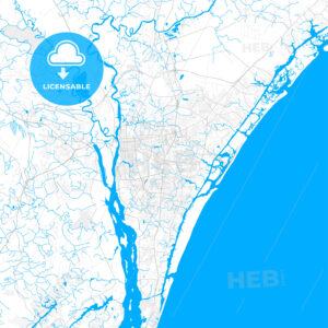 Rich detailed vector map of Wilmington, North Carolina, USA - HEBSTREITS Sketches
