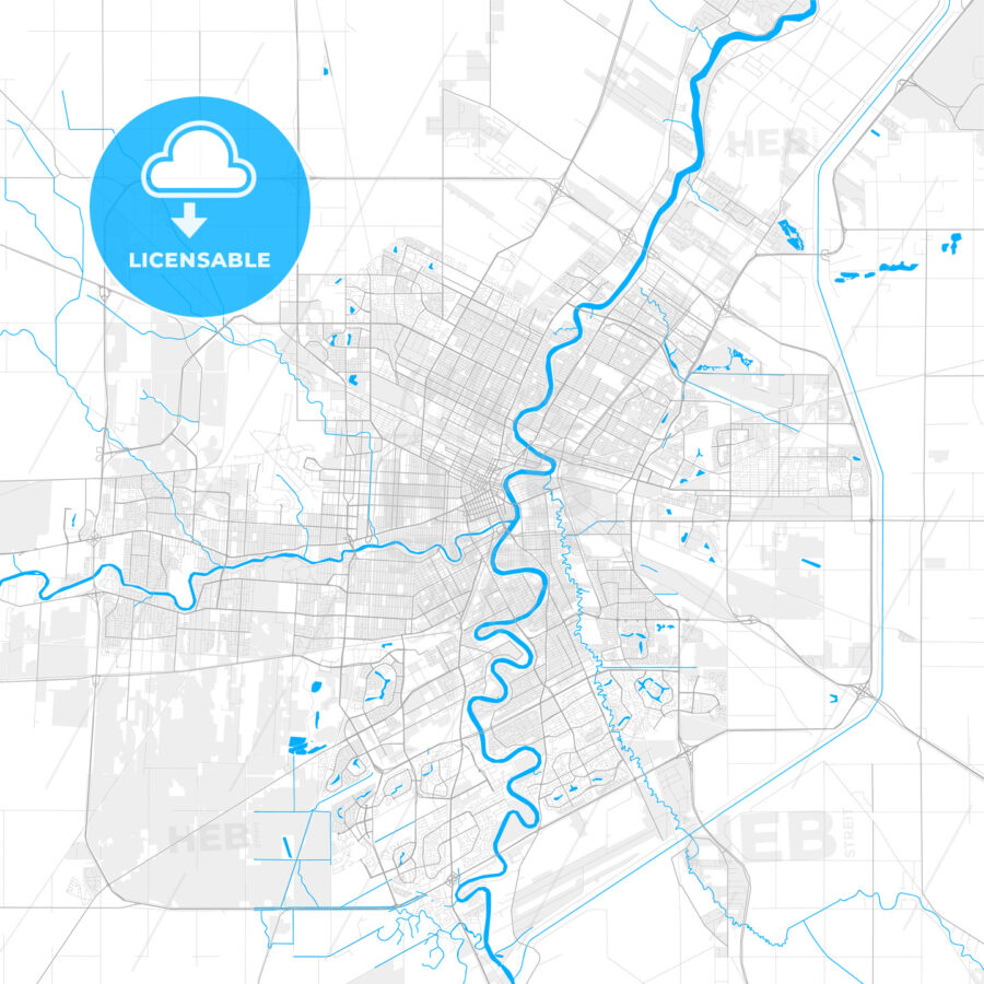Rich detailed vector map of Winnipeg, Manitoba, Canada - HEBSTREITS Sketches
