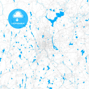 Rich detailed vector map of Worcester, Massachusetts, USA - HEBSTREITS Sketches