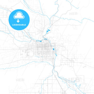Rich detailed vector map of Yakima, Washington, USA - HEBSTREITS Sketches