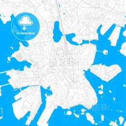 Helsinki, Finland bright two-toned vector map