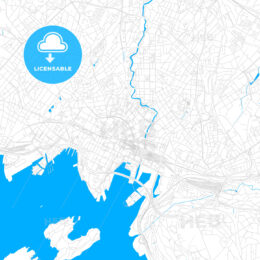 Oslo, Norway bright two-toned vector map