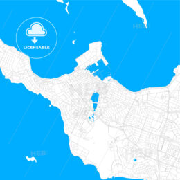 Reykjavík, Iceland bright two-toned vector map