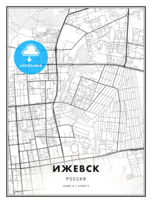 ИЖЕВСК / Izhevsk, Russia, Modern Print Template in Various Formats - HEBSTREITS Sketches