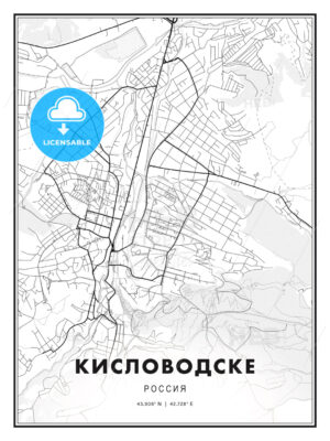 КИСЛОВОДСКЕ / Kislovodsk, Russia, Modern Print Template in Various Formats - HEBSTREITS Sketches