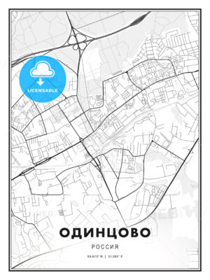 ОДИНЦОВО / Odintsovo, Russia, Modern Print Template in Various Formats - HEBSTREITS Sketches
