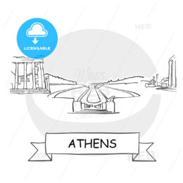 Athens Cityscape Vector Sign