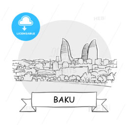 Baku Cityscape Vector Sign