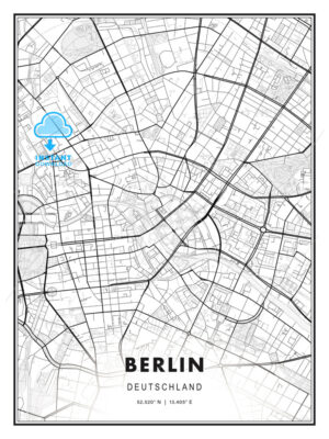 Berlin, Germany, Modern Print Template in Various Formats - HEBSTREITS Maps and Sketches
